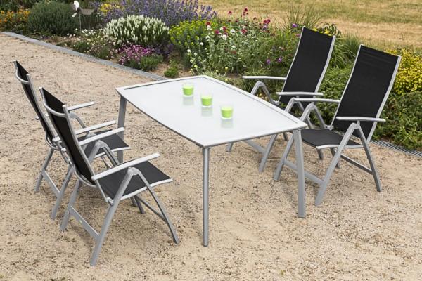 Gartenmöbelset Carrara 5tlg. Klappsessel - schwarz & Tisch
