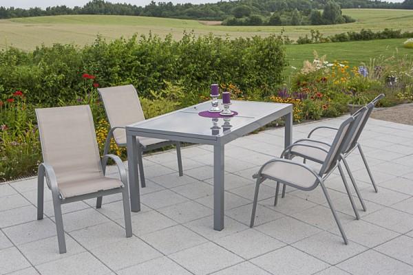 Amalfi Set 5tlg., Stapelsessel & Tisch 140 (200) x 90 cm, champagner