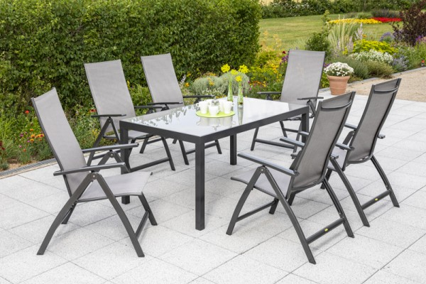 Vicenza Set 7tlg. Tisch 150x 90 cm, Sessel graphit / diamantbraun
