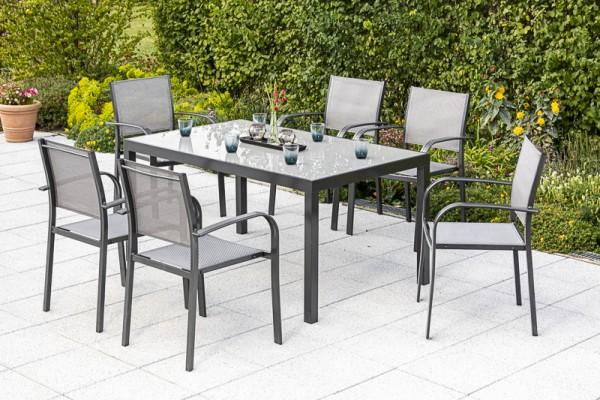 Ostia Set 7tlg., Stapelsessel & Tisch 150x 90cm - grau