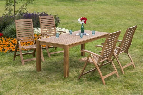 Gartenmöbelset Paraiba 5tlg. - Tisch 185x90 cm