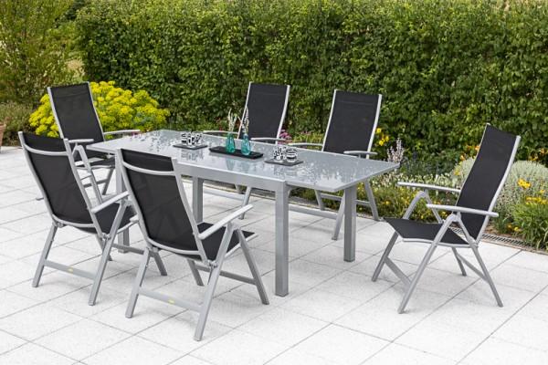 Carrara Set 7tlg.Semi Ausziehtisch 150 (220) x 90cm schwarz
