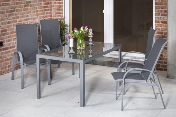 Marini Set 5tlg. mit Tisch 150 x 90cm silber/grau