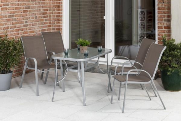 Sorrento Set 5tlg. mit Tisch 120x 70 cm silber/ taupe