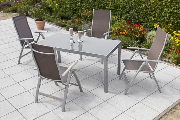 Gartenmöbelset Carrara 5tlg. eckig - Taupe