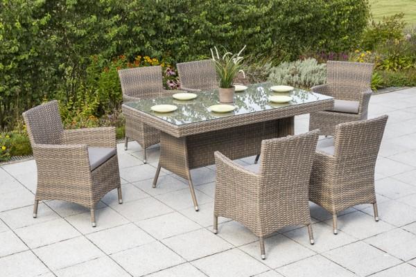 13tlg. Set Teneriffa - 6x Sessel inkl. Sitzkissen, 1 Tisch - 160 x 90 cm