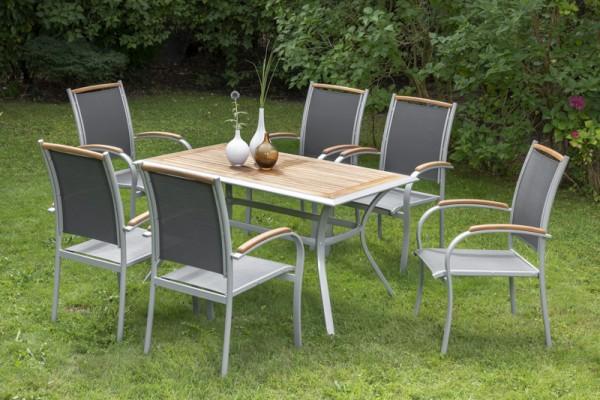 Siena Set 7tlg, Stapelsessel & rechteckiger Tisch