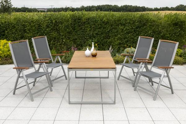 5tlg. Siena Set, 4 Siena Klappsessel & Tisch 150 (200)x 90cm