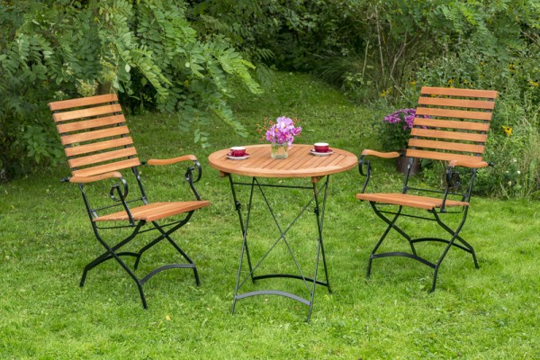 Schlossgarten Set 3tlg., hoher Sessel & runder Tisch