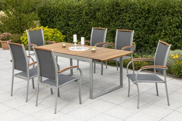 Siena Set 7tlg., Klappsessel & rechteckiger Tisch 150/200 x 90 x 74