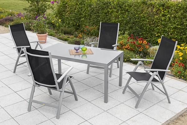 Gartenmöbelset Carrara 5tlg. Schwarz