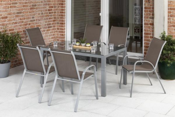 Sorrento Set 7tlg. mit Tisch 150x 90 cm silber/ taupe