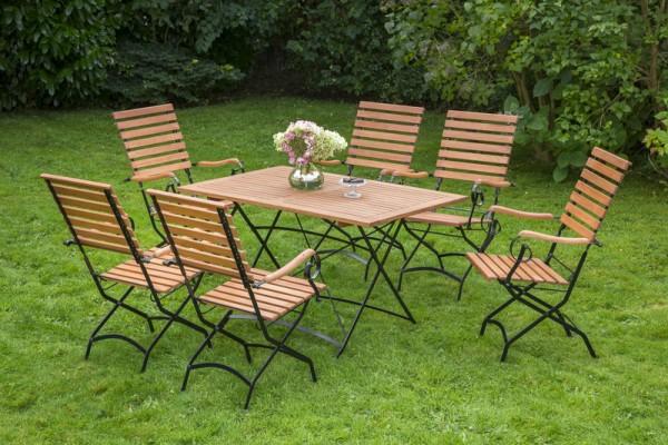 Schlossgarten Set 7tlg., hoher Sessel & rechteckiger Tisch