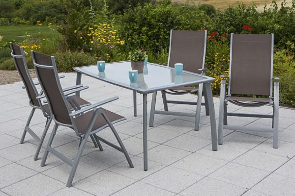 Gartenmöbelset Carrara 5tlg. Klappsessel - taupe & Tisch