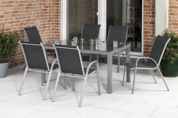Sorrento Set 7tlg. mit Tisch 150x 90 cm silber/ anthrazit