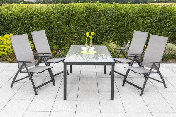 Vicenza Set 5tlg. Tisch 150x 90 cm, Sessel graphit / diamantbraun