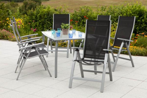 Gartenmöbelset Carrara 7tlg. Klappsesse - schwarz & Tisch