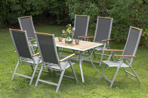 Siena Set 7tlg., Klappsessel & rechteckiger Tisch