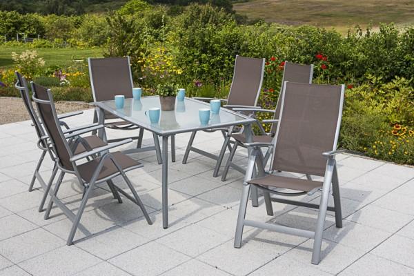 Gartenmöbelset Carrara 7tlg. Klappsessel - taupe & Tisch