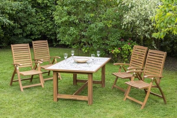 Gartenmöbelset Paraiba 5tlg. Keramikfliesentisch 172x105 cm