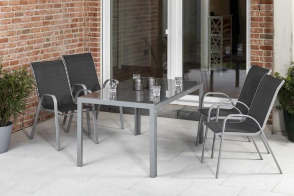 Sorrento Set 5tlg. mit Tisch 150x 90 cm silber/ anthrazit