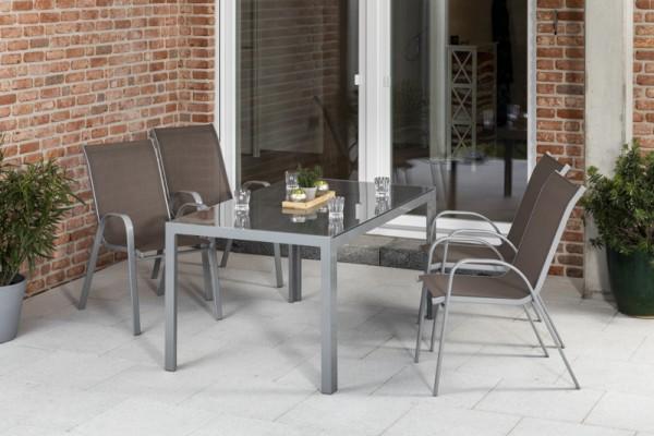 Sorrento Set 5tlg. mit Tisch 150x 90 cm silber/ taupe