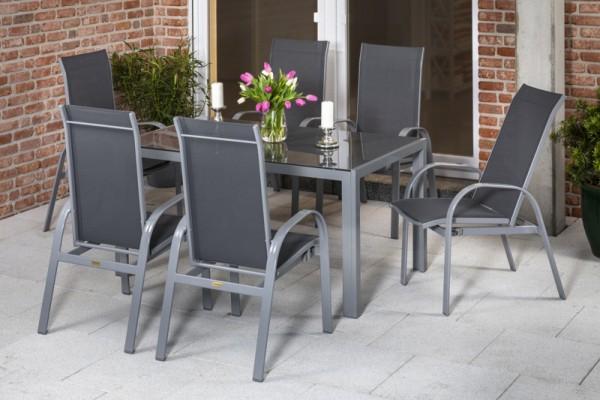 Marini Set 7tlg. mit Tisch 150 x 90cm silber/grau