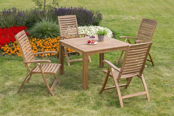 Gartenmöbelset Paraiba 5tlg. - Tisch 110x110 cm