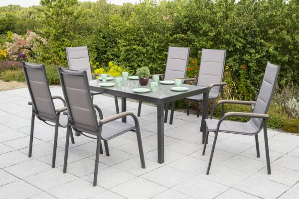 Trivero Set 7tlg., Stapelsessel & rechteckiger Tisch