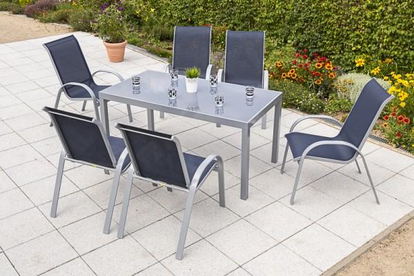 Amalfi Set 7tlg. - Stapelsessel & Tisch - rechteckig - marineblau