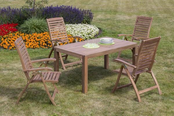 Gartenmöbelset Paraiba 5tlg. Tisch 150/ 200x 90x 74,5
